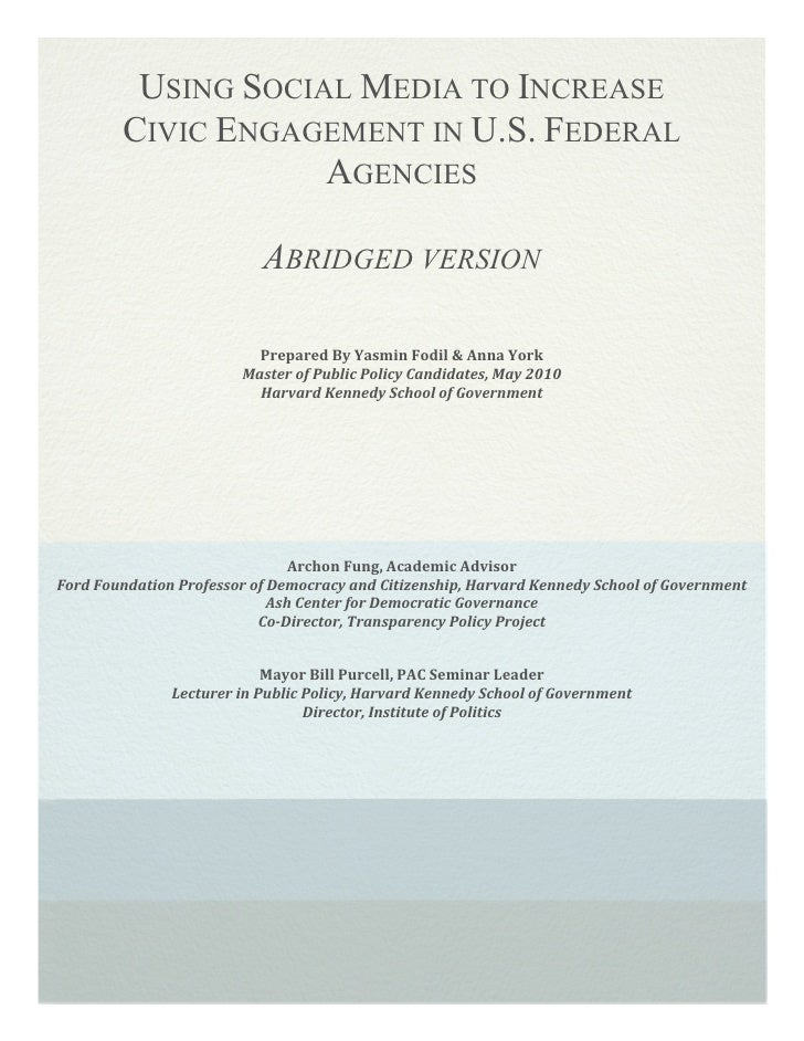 !           USING SOCIAL MEDIA TO INCREASE         CIVIC ENGAGEMENT IN U.S. FEDERAL                     AGENCIES          ...