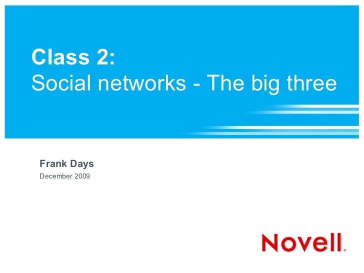Class 2:Social networks - The big threeFrank DaysDecember 2009