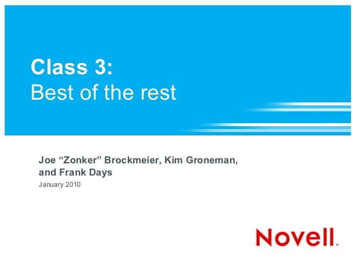 "Class 3:Best of the restJoe ""Zonker"" Brockmeier, Kim Groneman,and Frank DaysJanuary 2010"