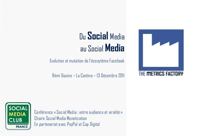 Du Social Media                            au Social Media         Evolution et mutation de l'écosytéme Facebook          ...