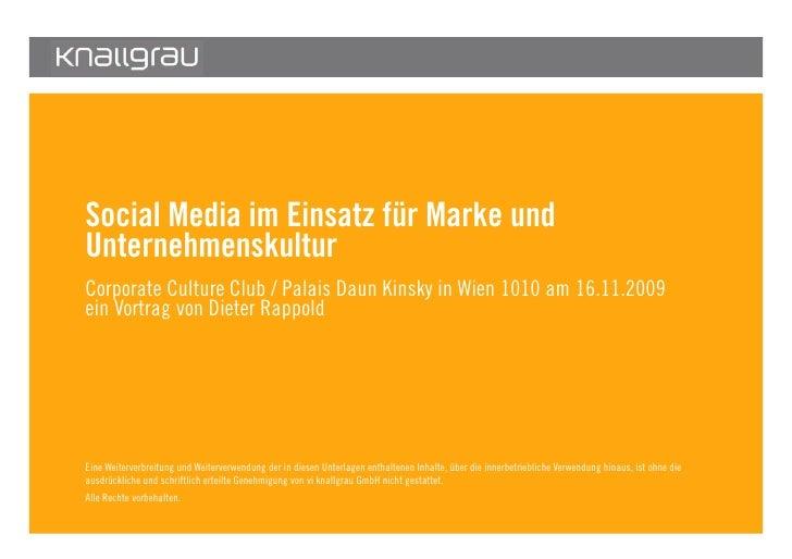 Social Media im Einsatz für Marke und         Unternehmenskultur         Corporate Culture Club / Palais Daun Kinsky in Wi...