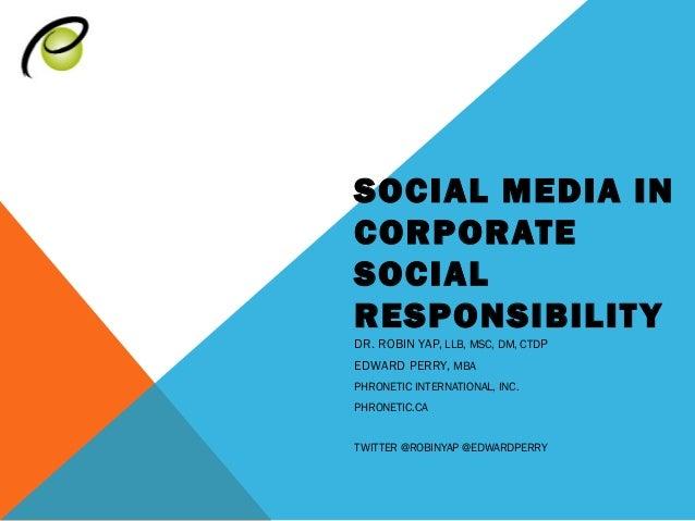 Social Media in CSR
