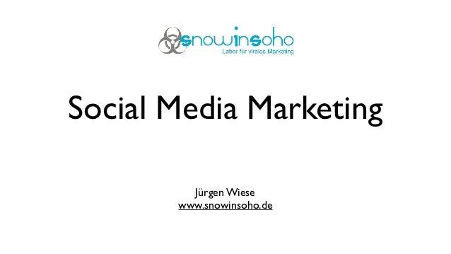 Social Media Marketing         Jürgen Wiese       www.snowinsoho.de