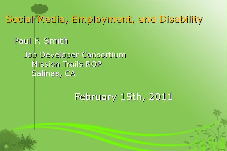 Social Media, Employment, and Disability
