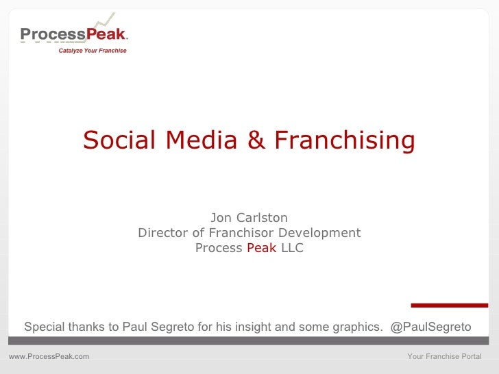 Social Media & Franchising Jon Carlston Director of Franchisor Development Process  Peak  LLC Special thanks to Paul Segre...