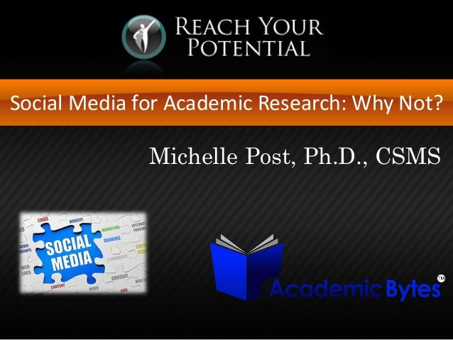 Social Media for Academic Research: Why Not? Michelle Post, Ph.D., CSMS
