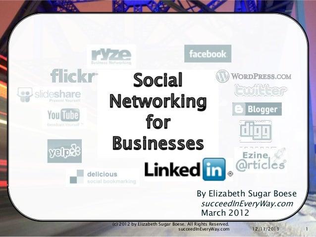 Social Media Networking for Business 2012 Part 3 LinkedIn