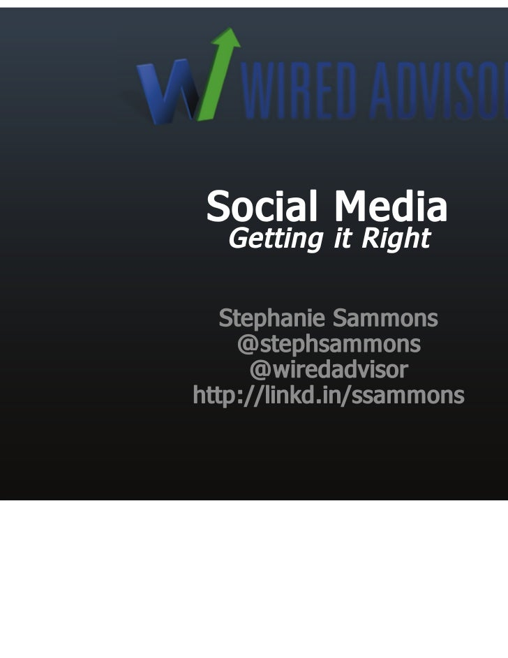 Social media for financial advisors; Getting it Right