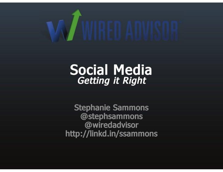 "Social media for financial advisors ""Getting it right"""