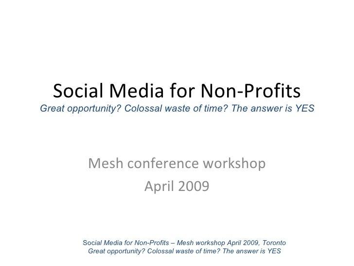Social Media for Non-Profits Workshop