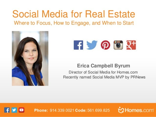 Social Media for Real Estate Where to Focus, How to Engage, and When to Start Erica Campbell Byrum Director of Social Medi...