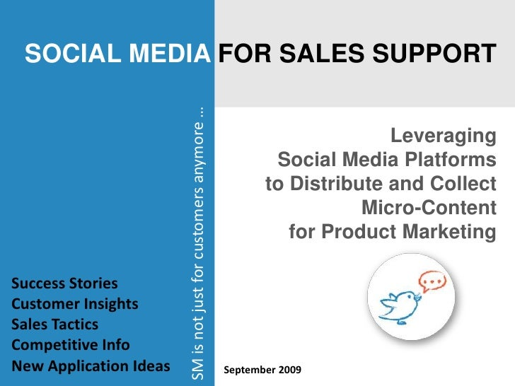 SOCIAL MEDIA FOR SALES SUPPORT<br />Leveraging <br />Social Media Platforms to Distribute and Collect Micro-Content <br />...