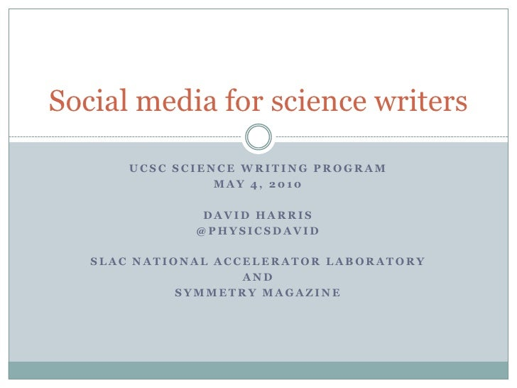 Social media for science writers