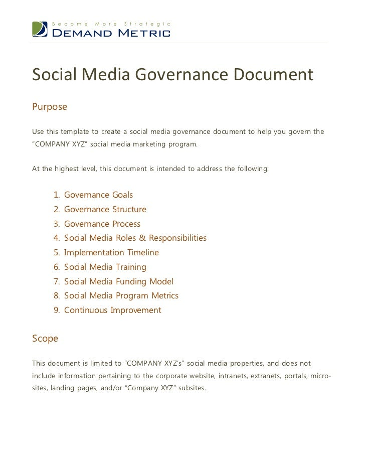 Social Media Governance DocumentPurposeUse this template to create a social media governance document to help you govern t...