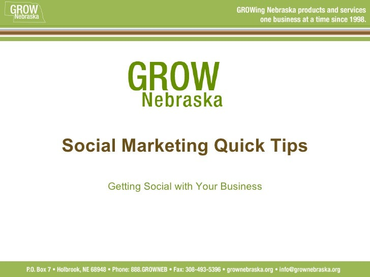 Social Marketing Quick Tips Getting Social with Your Business