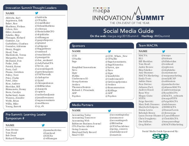 2013 MACPA Innovation Summit - Social Media Guide