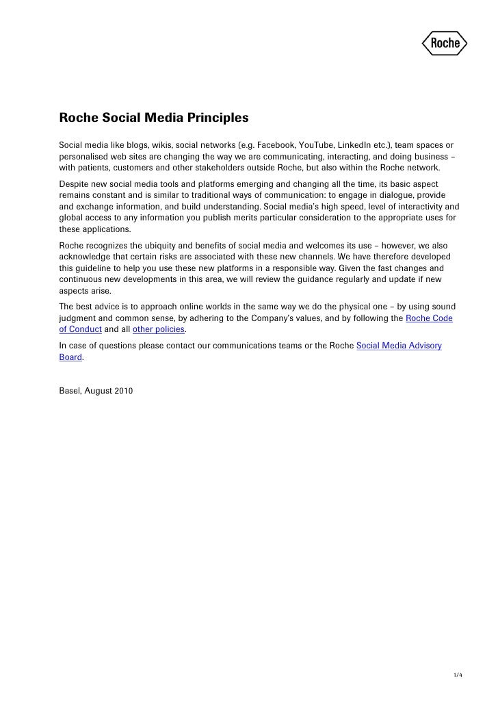Roche Social Media Principles Social media like blogs, wikis, social networks (e.g. Facebook, YouTube, LinkedIn etc.), tea...
