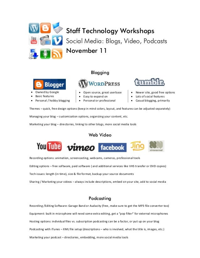 Staff Technology Workshops Social Media: Blogs, Video, Podcasts November 11              Blogging     • Owned by Google  •...