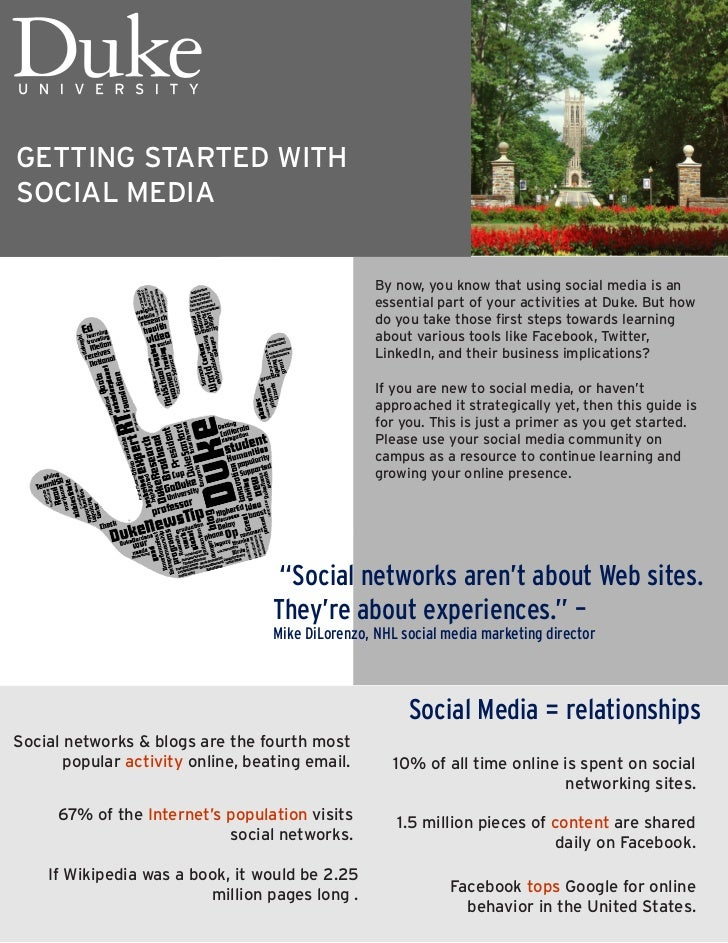 GETTING STARTED WITHSOCIAL MEDIA                                                   By now, you know that using social medi...