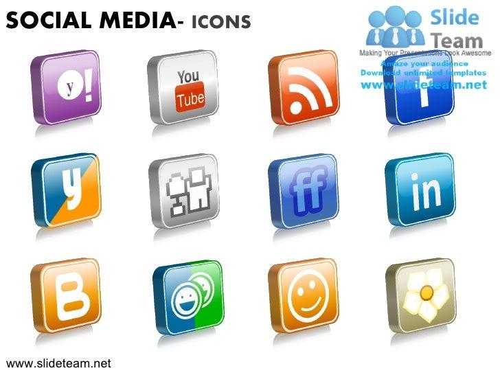 Social media icons marketing youtube facebook powerpoint presentation slides.