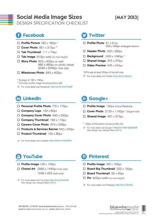 Social Media Image Sizes - Design Specification Checklist