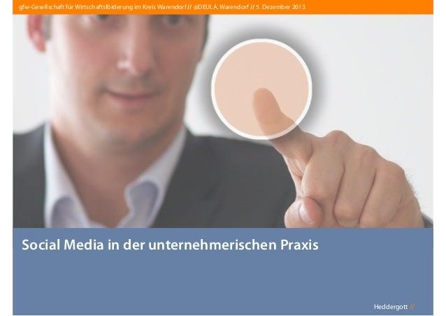 gfw-Gesellschaft für Wirtschaftsförderung im Kreis Warendorf // @DEULA, Warendorf // 5. Dezember 2013  Social Media in der...