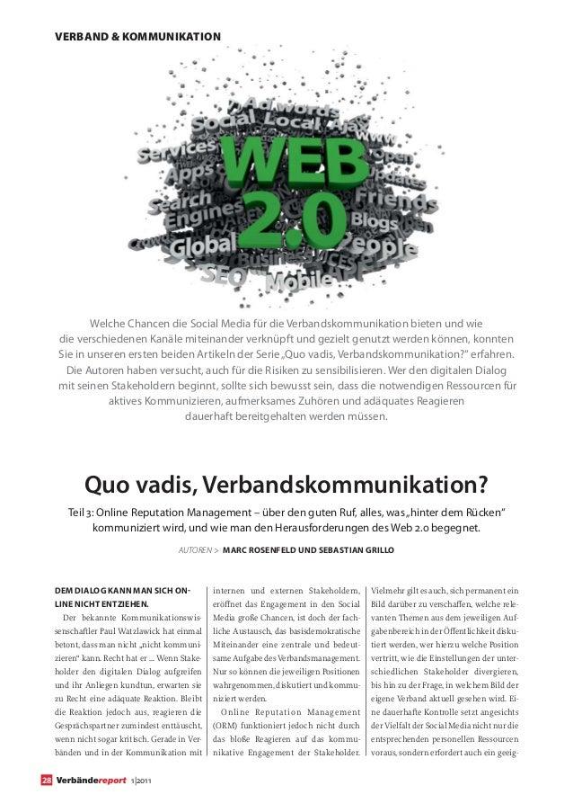 VERBAND & KOMMUNIKATION             Welche Chancen die Social Media für die Verbandskommunikation bieten und wie      die ...