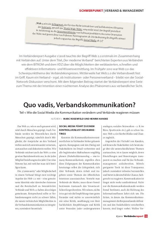 """SCHWERPUNKT   VERBAND & MANAGEMENT                    """"Web 2.0 ist ein Schlag                                             ..."""