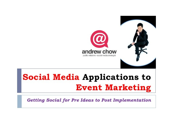 Social Media Applications to           Event MarketingGetting Social for Pre Ideas to Post Implementation