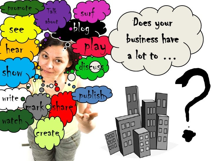 promote<br />surf<br />Does your business have a lot to …<br />Talk about<br />see<br />blog<br />play<br />?<br />hear<br...