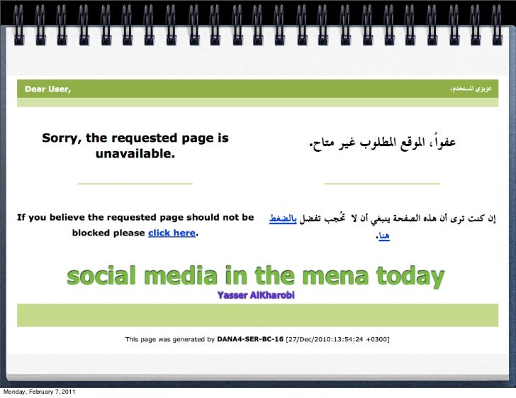 social media in the mena today                                Yasser AlKharobiMonday, February 7, 2011