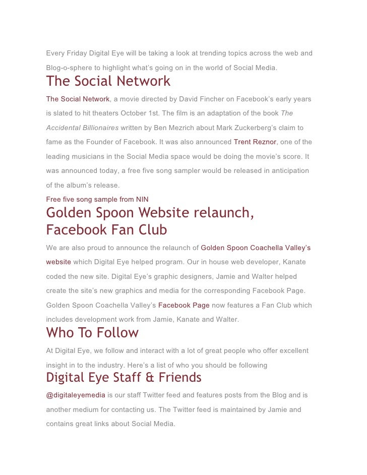 Every Friday Digital Eye will be taking a look at trending topics across the web and  Blog-o-sphere to highlight what's go...