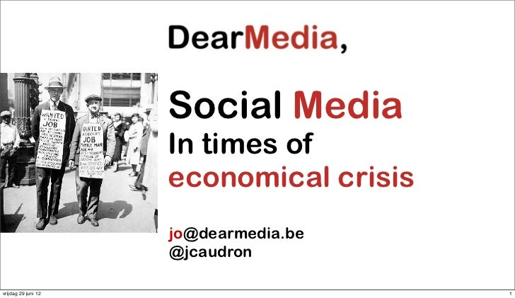 Social media in times of economical crisis