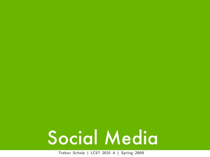Social Media. Introduction to the Syllabus