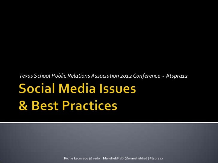 Social Media Issues and Best Practices for School PR