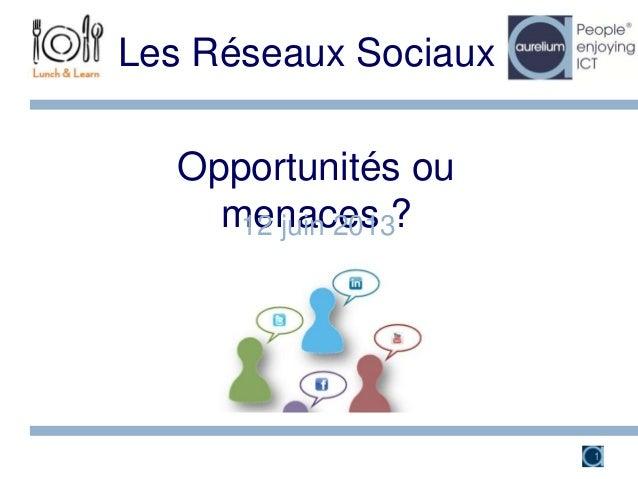 Opportunités oumenaces ?Les Réseaux Sociaux12 juin 20131