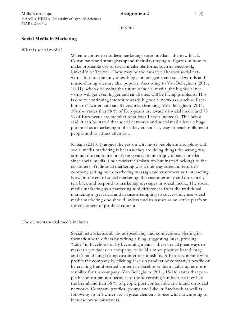 Milla Kortesoja                                     Assignment 2                            1 (4)HAAGA-HELIA University of...