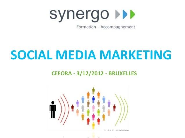 SOCIAL MEDIA MARKETING       CEFORA -‐ 3/12/2012 -‐ BRUXELLES                                  Social ROI...