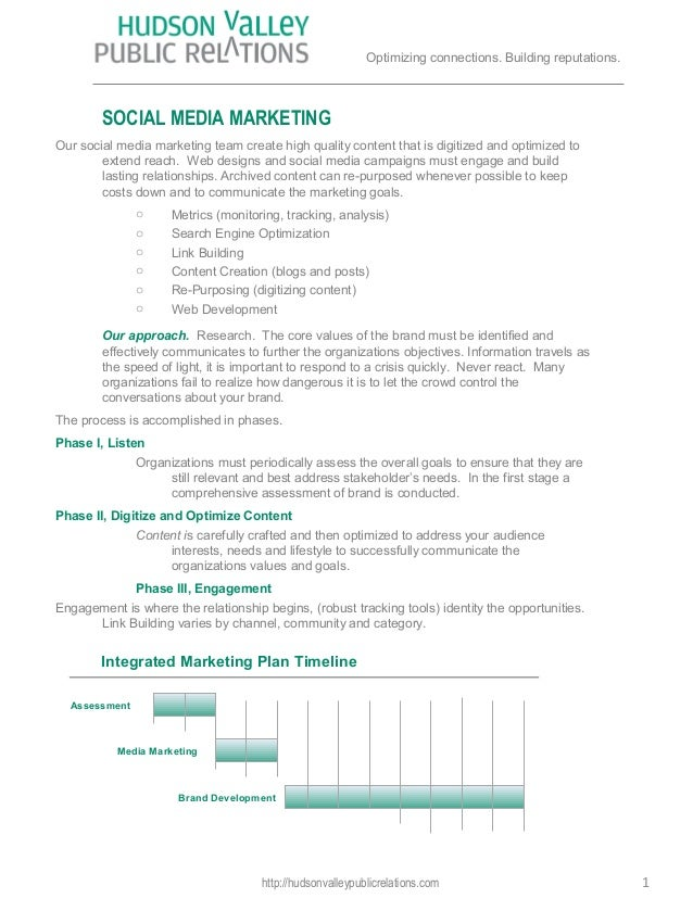 1AssessmentBrand DevelopmentMedia MarketingIntegrated Marketing Plan TimelineSOCIAL MEDIA MARKETINGOur social media market...