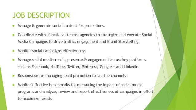 Social Media Marketing Job Description Samples