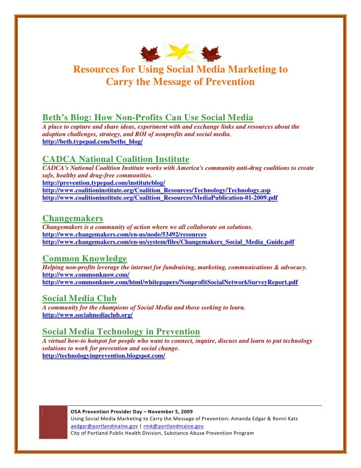 Social Media Marketing Resources (Portland Prevention)