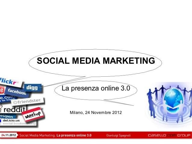 SOCIAL MEDIA MARKETING    La presenza online 3.0      Milano, 24 Novembre 2012