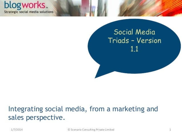 Social Media Triads – Version 1.1  Integrating social media, from a marketing and sales perspective. 1/7/2014  © Scenario ...