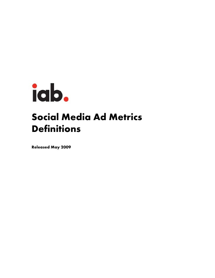 Social Media Ad Metrics Definitions Released May 2009