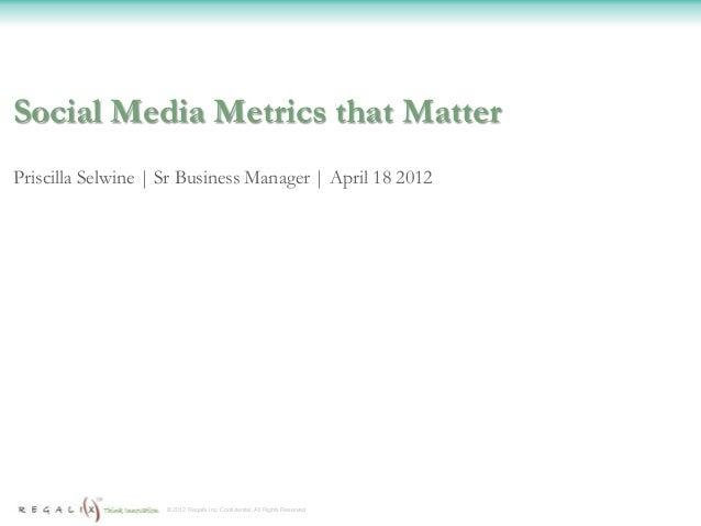 Social Media Metrics that MatterPriscilla Selwine | Sr Business Manager | April 18 2012                    © 2012 Regalix ...