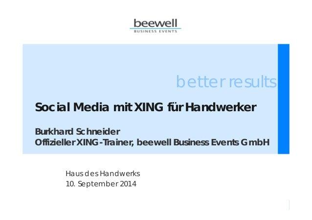 better results  Social Media mit XING für Handwerker  Burkhard Schneider  Offizieller XING-Trainer, beewell Business Event...
