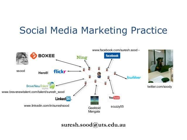 Social Media Marketing Practice suresh.sood@uts.edu.au Geektoid Mangala www.linkedin.com/in/sureshsood twitter.com/soody w...