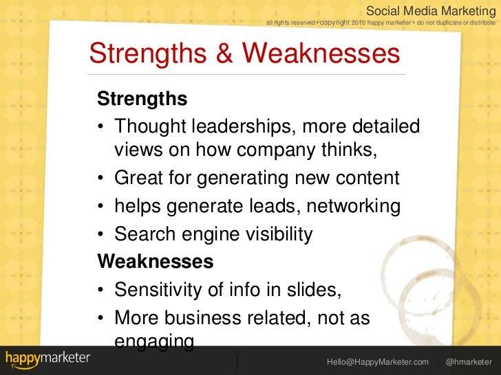 social media landscape  strengths amp weaknesses  47 strengths amp weaknessesltbr