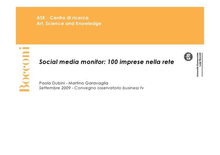 Social Media Monitor 100 Imprese Nella Rete