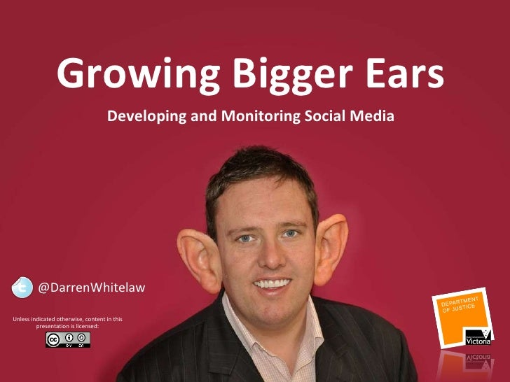 Listen and Learn:  Who  is saying  what  about you via Web 2.0 Growing Bigger Ears Unless indicated otherwise, content in ...